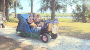 "July 4, 2011 We took home First Place for the first year with a ""Surfin' U.S.A."" float, which was honestly a giant wave"